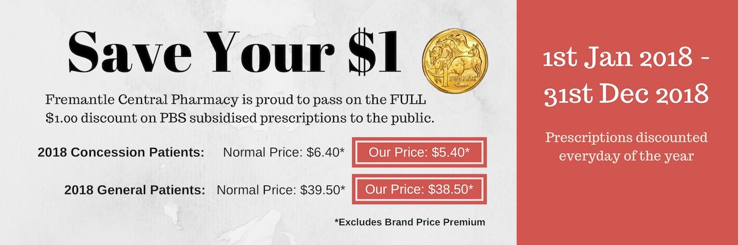 PBS Subsidised Prescription Save $1